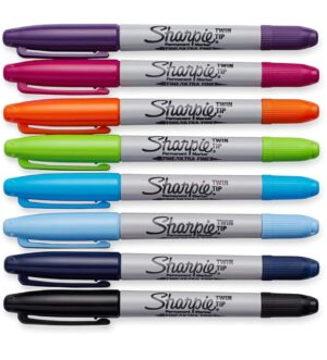 Sharpie Permanent Markers - Twin Tip x8 Colours
